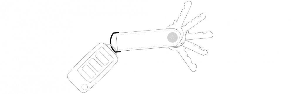 Kompaktní kožená klíčenka - wireframe